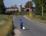 Amish Boy Walking to School  1804