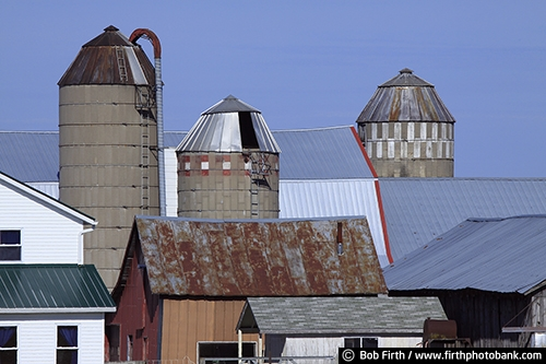 Barns;agriculture;country;farm;farm buildings;WI;Wisconsin;Amish Barns;Amish farm;Amish homestead;silos;silo;rural