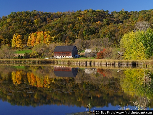 Barns;agriculture;country;farm;farm buildings;Frontenac MN;Minnesota;MN;rural;Mississippi River Bluffs;bluff country;river bluffs;pond;reflections in water;fall;autumn;fall trees;fall color