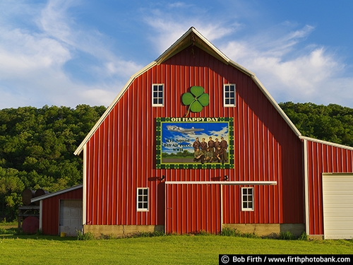 Barns;agriculture;country;farm;farm buildings;red barn;rural;barn art;barn sign;barn signage;farmstead;bluff country;river bluffs;summer;summer trees;midwest farm