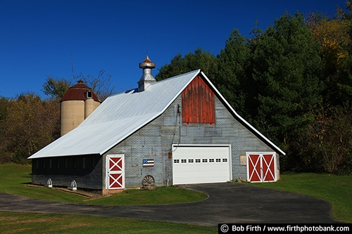 Barns;agriculture;country;farm;farm buildings;grey barn;gray barn;silo;rural;cupola;cupola on barn;midwest farm;farmstead;wagonwheel;fall