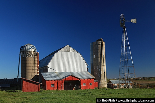 Barns;agriculture;country;farm;farm buildings;silo;rural;midwest farm;windmill;fall;silos;red barn;white barn;farmstead;farm field