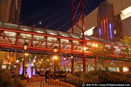 1st Avenue;Block E;Block E Entertainment Complex;Bob Firth;decorative lights;downtown Minneapolis;Minneapolis;Minnesota;photo;skyways;Target Center;Mpls;MN;night;nighttime