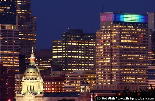 Basilica of St Mary;spire;Bob Firth;Minneapolis;Minnesota;night;photo;skyline;downtown Mpls;MN; buildings;office buildings;towers;nighttime,city lights