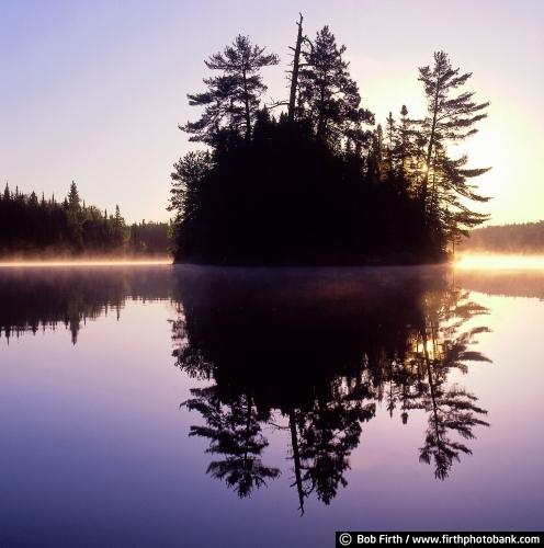 BWCAW;Boundary Waters;Boundary Waters Canoe Area Wilderness;Minnesota;sunrises;island;trees;reflections;water;lakes;wilderness;moody;peaceful;tranquil;solitary;solitude;misty;BWCA;MN