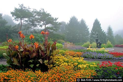 University of Minnesota Landscape Arboretum;Chaska Minnesota;annual gardens;formal gardens;flowers;evergreens;fog;foggy;plants;summer;colorful