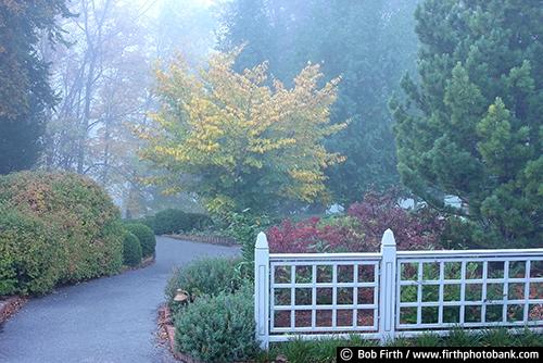 annual gardens;autumn;Chaska Minnesota;fall;fog;foggy;gardens;landscaping;trails;University of Minnesota Landscape Arboretum;path;walkway;peaceful;formal gardens