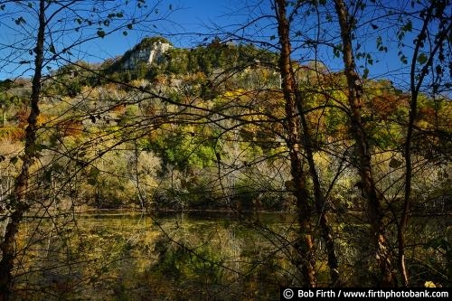 Mississippi River;bluffs;birch trees;fall;Great River Road;Fountain City WI;Mighty Mississippi;quiet water;reflection;Wisconsin;upper Mississippi River;trees;autumn;bare tree