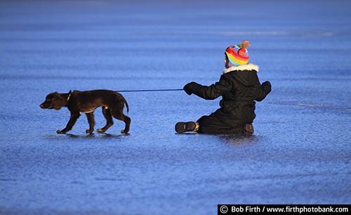 boy;dog;puppy;playing;playful;ice;animal;Carver County;child;companion;companionship;friends;friendship;frozen lake;fun;male;Minnesota;Victoria MN;winter;Steiger Lake