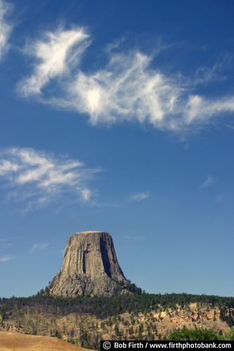 Devils Tower;Wyoming;WY;tourism;destination;volcanic plug;blue sky;summer;rock climbing;sacred place