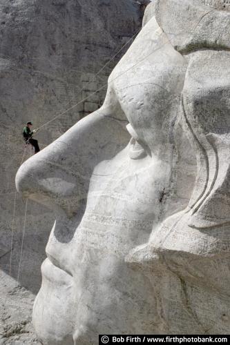 Mt Rushmore;Mount Rushmore;Black Hills;SD;South Dakota;tourism;destination;Thomas Jefferson;president;landmark;history;Americana;maintenance;National Park Ranger;National Monument;sculpture;carving;Keystone;granite