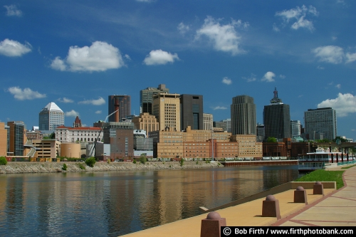 St. Paul;skyline;Riverboat;Mississippi River;summer;Radisson;First Bank;blue sky;river boat;historic;Harriet Island;MN;Minnesota;Twin Cities
