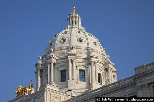 blue sky;destination;dome;government;gold statue of horses and chariot;historic;landmark;Minnesota;MN;quadriga;Saint Paul;St Paul;State Capitol;tourism;Twin Cities