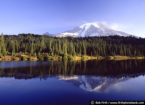 Washington;forest;lake;Mount Rainier;Cascade Range;Cascade Volcanic Arc;highest mountain in Washington state;Mount Rainier National Park;Mount Tacoma;Mount Tahoma;seen from Seattle;stratovolcano;Mt Rainier;snow covered mountain;reflections in water;WA;woodlands;woods;trees;inspirational;reflection;peaceful;solitude;Pacific Northwest