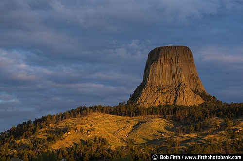 Devil's Tower;geological landmark;National Monument;rock formation;sacred;volcano core;Wyoming;Black Hills;destination;prairie;tourism;WY;rock;rocks;rock landscape;sunrise;trees;Devils Tower;northeastern Wyoming;Crook County;Bear Lodge Mountains;Devils Tower National Monument;laccolithic butte;near Hulett and Sundance;rolling prairie